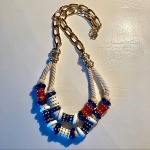 Anthropologie Nautical Red White and Blue necklace